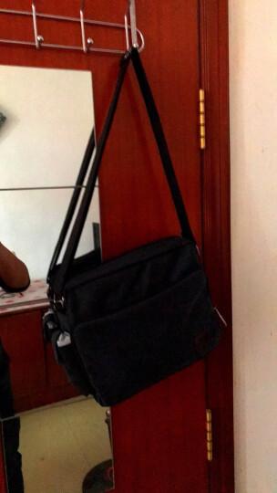 满江红帆布包单肩包男休闲大容量男士挎包运动简约横款斜挎包复古邮差多功能背包ipad包 升级版黑色 晒单图