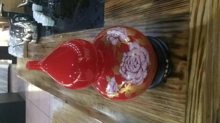 中国龙瓷葫芦摆件开业礼品工艺品商务办公家居装饰瓷器摆件25cm二节葫芦-红(花开富贵) 25cm二节葫芦红结晶金漆线雕 晒单图