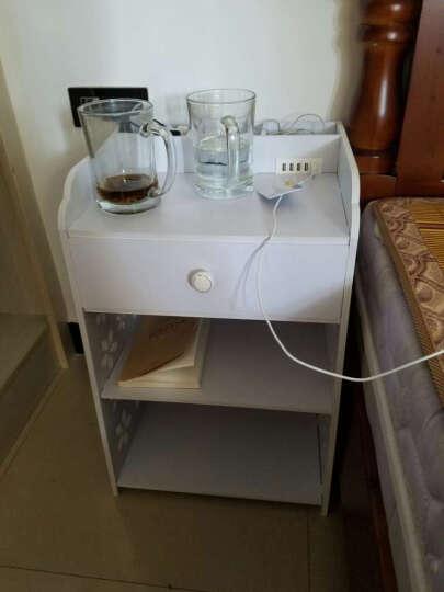 慕意 家居USB充电器智能床头柜 简约时尚床头小柜 白色镂空雕花床边柜 现代卧室迷你柜 陌上花USB(智能款) 晒单图