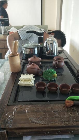 添尚 全自动玻璃茶具套装整套紫砂功夫家用实木茶盘四合一电磁炉茶道茶海茶壶茶杯 款12柴烧福川+白色窑变+黑色全自动 晒单图