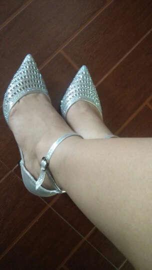 梦丽舒春季新款女鞋 欧美时尚高跟鞋 舒适低跟单鞋女 性感细跟OL上班鞋 白色 35标准皮鞋码 晒单图