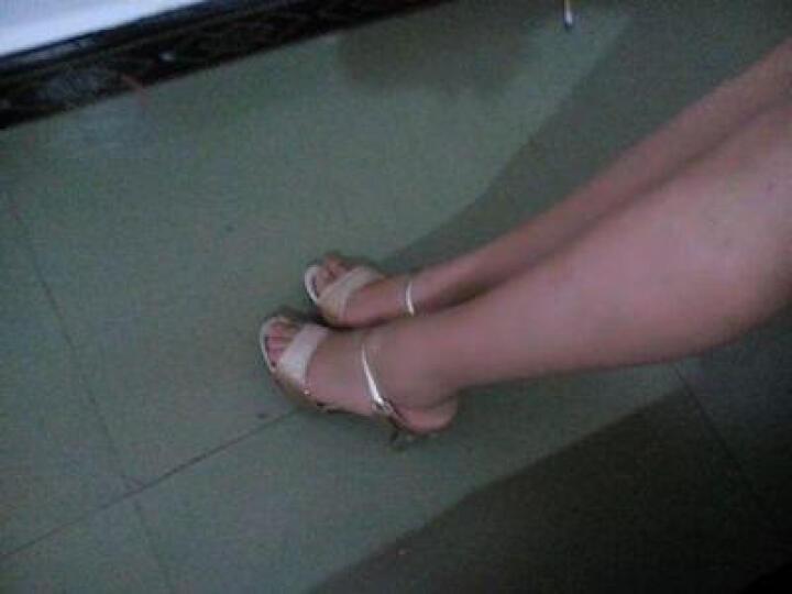 古奇天伦女鞋夏季2019夏天韩版水钻凉鞋高跟鞋细跟水晶一字型女凉拖鞋子 女 紫色 38 晒单图