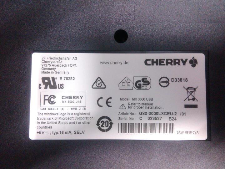 德国进口樱桃Cherry机械键盘 G80-3000办公黑轴104键 白色茶轴 晒单图