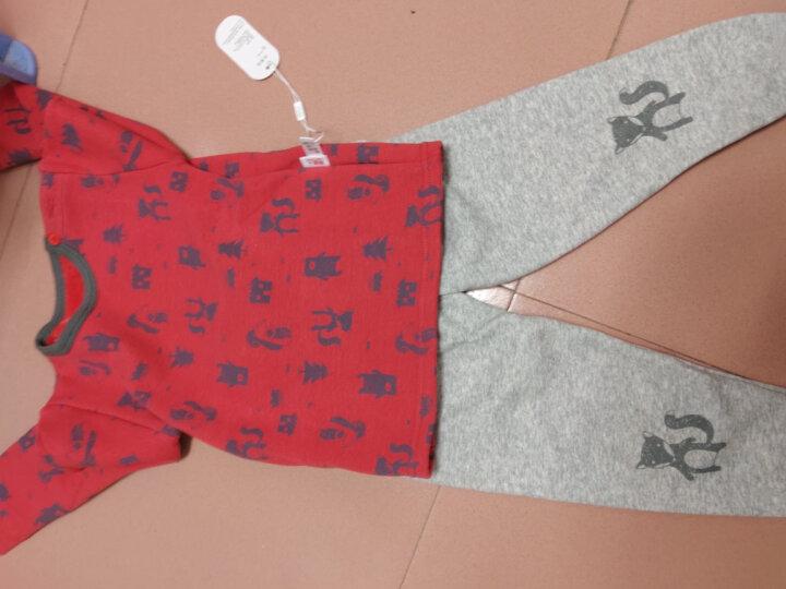 南极人宝宝加绒保暖衣服婴儿秋冬新款内衣套男女童保暖两件套 平腰-大鼻子熊-蓝 90CM 晒单图