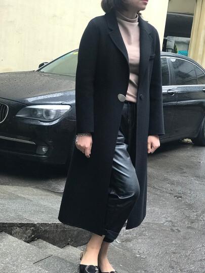 朵艾丝 双面呢大衣女中长款西装领羊毛大衣2018秋冬新款 韩版修身双面绒羊绒大衣中年妈妈装毛呢外套 墨绿色 XXL 晒单图