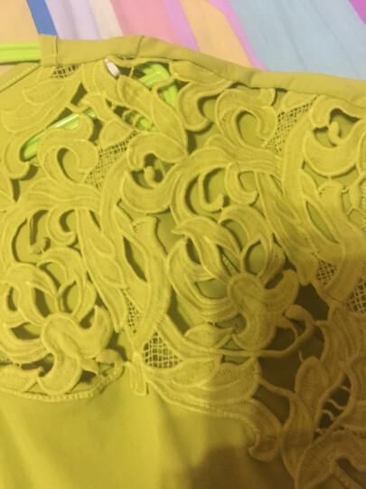 Amii[极简主义]T恤女短袖新款女不对称拼蕾丝大码11620337 墨绿 L 晒单图