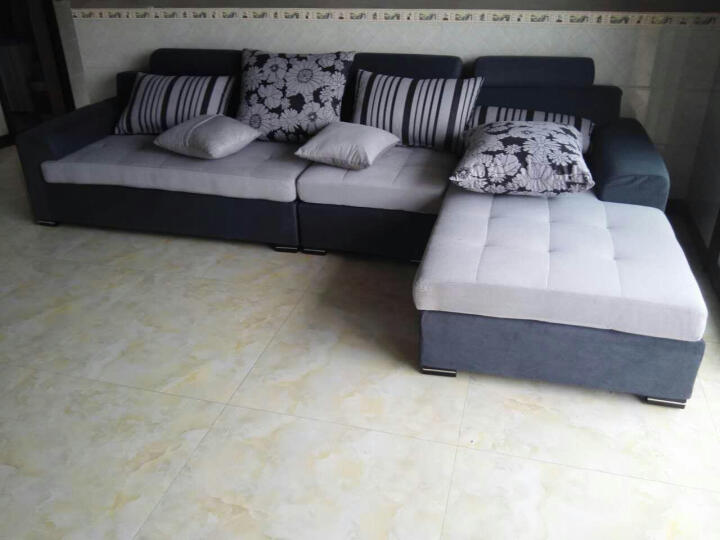 林中漫步 沙发 布艺沙发组合 小户型客厅拆洗时尚转角沙发 深蓝 单人+三人+左贵妃+脚踏 晒单图