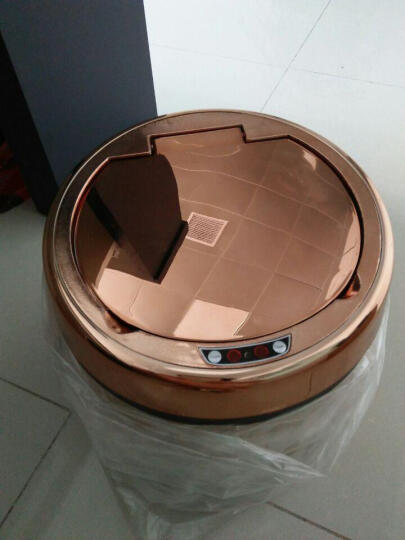 安俊 自动感应垃圾桶家用客厅卧室厨房卫生间智能有带盖电动垃圾筒大号垃圾桶防水充电垃圾桶 非洲梨花木 9L  25*25*35cm 晒单图