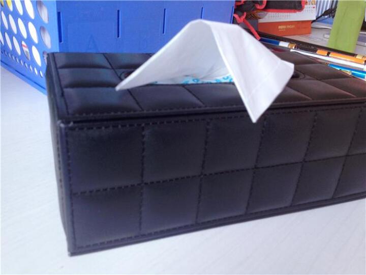 百联臣 欧式抽纸盒 车用纸巾盒家用纸抽盒子皮革客厅创意餐巾纸盒定制 白编织小号纸巾盒 晒单图