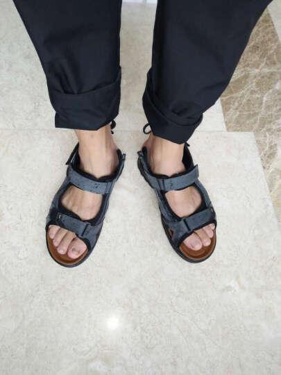 梵格鸟 夏季上新休闲牛皮男凉鞋时尚透气沙滩鞋个性百搭徒步鞋软底防滑男士凉鞋子A2038 A2038蓝灰 42 晒单图