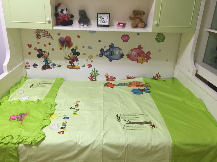 1罗盛凯丽家纺  儿童四件套  一米三五床全棉学生套件 纯棉床上用品 三件套床品套件 气球 小规格1.2-1.35米床1枕套+1抱枕套 晒单图