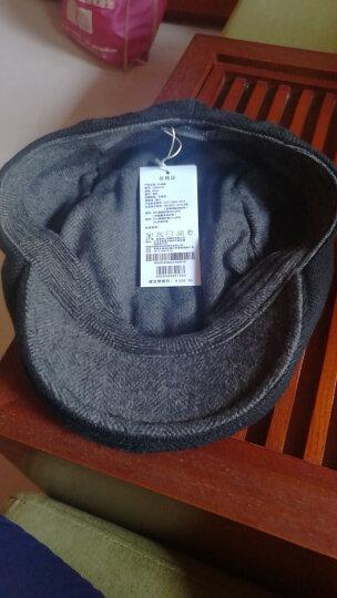 帽子男冬天韩版时尚针织鸭舌帽秋冬贝雷帽画家前进帽 黑色60CM 晒单图
