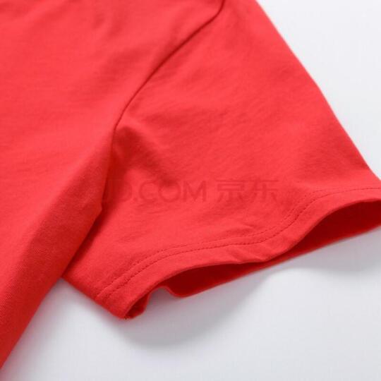 森马(Semir) 短袖T恤男 2018春季新款男士圆领衣服打底衫上衣纯棉白体恤 19018001233 中国红 XL 晒单图