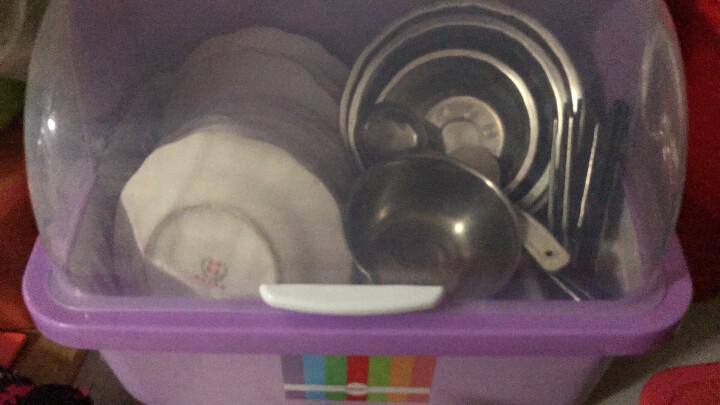 沃德百惠(WORTHBUY)碗架沥水架厨房置物架碗筷收纳盒碗碟架收纳柜碗架 翻盖绿色中号 晒单图