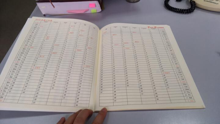 2019年月计划日程本工作小秘书 自填式计划日程本 年历笔记本 记事本 记事本定制logo效率手册 花纹桔色 晒单图