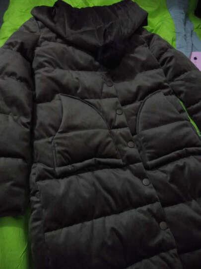 菲娅缇 金丝绒棉服女中长款2017冬季棉袄外套新款韩版修身原宿长袖棉衣女 黑色 L 晒单图