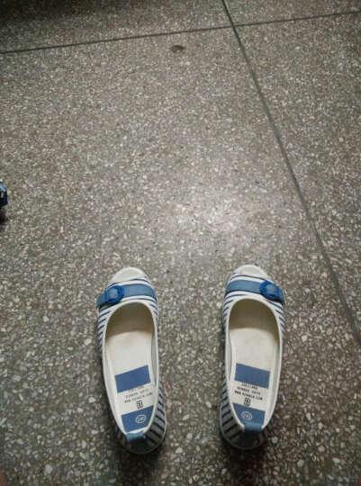 【专区58元2件】人本帆布鞋韩版女鞋条纹浅口小清新舒适平底鱼嘴女凉鞋 红色偏小一码 36 晒单图
