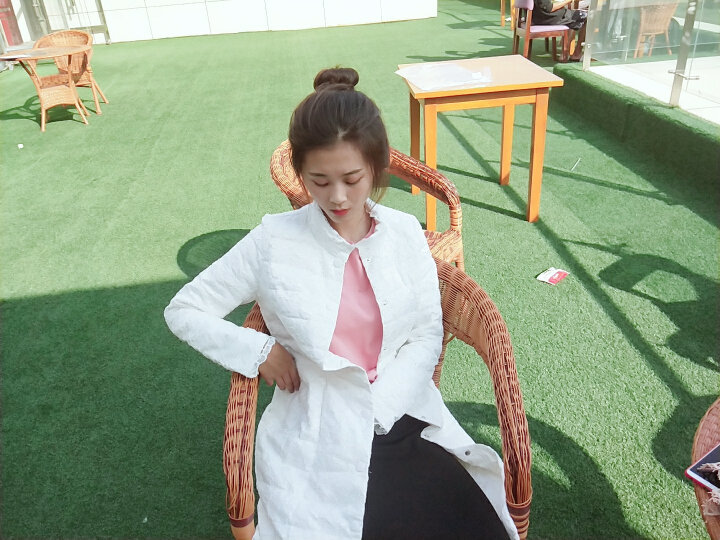 三纬轻薄羽绒服女蕾丝中长款修身显瘦气质优雅冬装纯色外套 白色 M 晒单图