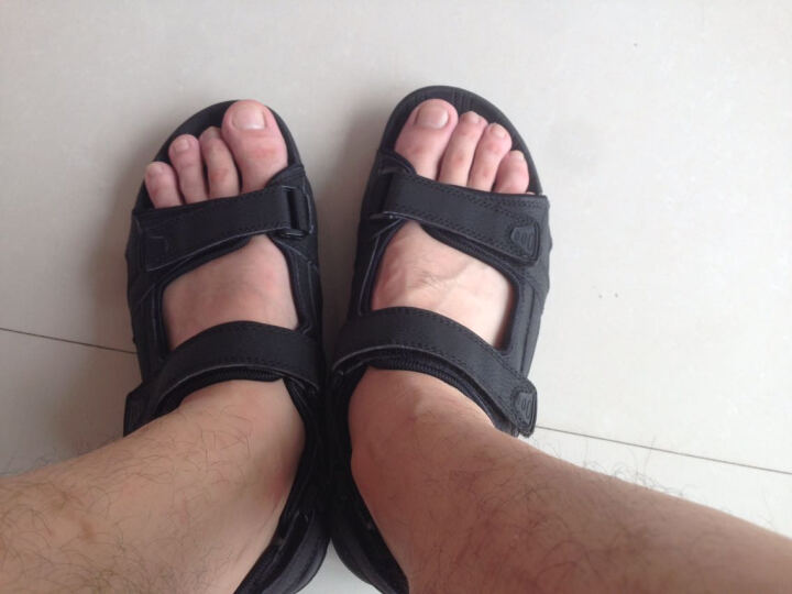 2018新款凉鞋男夏天男士沙滩鞋休闲防滑增高厚底罗马凉鞋男 黑色 43比皮鞋偏小一码 晒单图