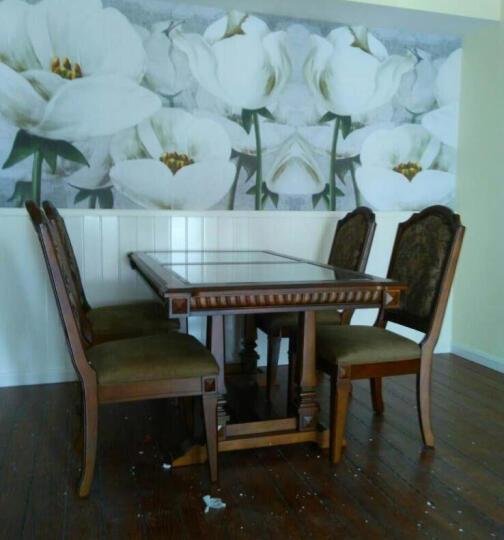 美式小户型长方形饭桌全实木钢化玻璃仿古铁艺造型漆餐桌椅组合 单个餐桌 晒单图