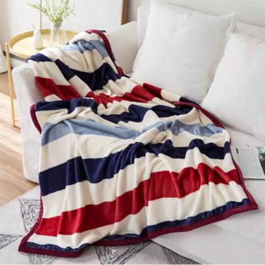莫吻 毛毯被 法兰绒毯子床单 珊瑚绒午睡空调毯毛巾被盖毯 盖毯多用 七彩虹 150*200cm 晒单图
