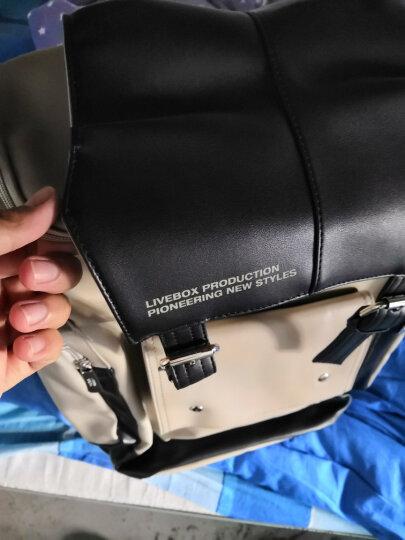闪潮双肩包男潮流旅游背包皮质男学生15.6寸电脑书包防水 浅灰色-升级版 晒单图