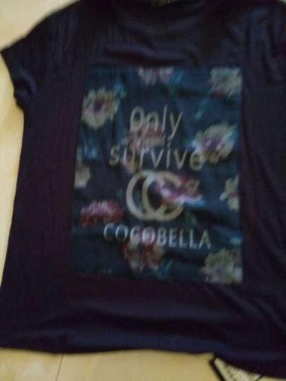 COCOBELLA  欧美范时尚百搭LOGO印花短袖女士T恤夏TE161 藏蓝色 XL 晒单图