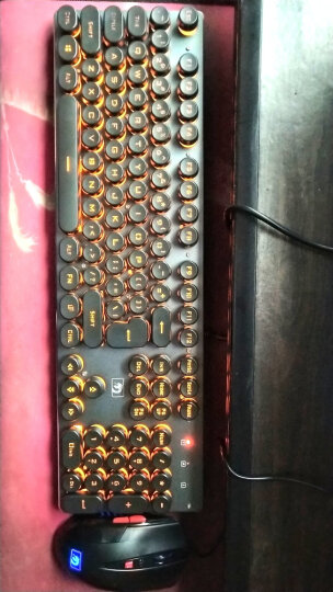 新盟 Technology 曼巴狂蛇键鼠套装有线发光游戏办公圆键复古朋克机械手感套装绝地求生吃鸡 灰黑白光复古版 晒单图