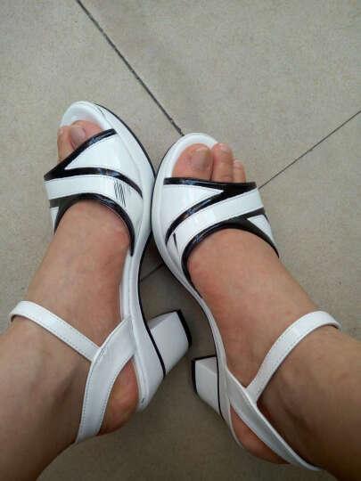 雅诗莱雅凉鞋女 新款粗跟时尚百搭扣带鱼嘴防水台高跟女鞋 B308N20HJ白色 38 晒单图