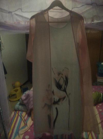 简姿兰2017夏季新款棉麻连衣裙女夏天两件套装中长款大码宽松民族风妈妈装印花度假沙滩长裙 粉红送项链 2XL 晒单图