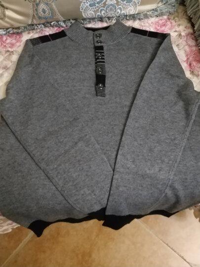袋鼠 羊绒衫男士圆领毛衣纯色保暖商务绅士休闲中年男装宽松保暖毛衣针织衫男 66-17米白 XL 晒单图