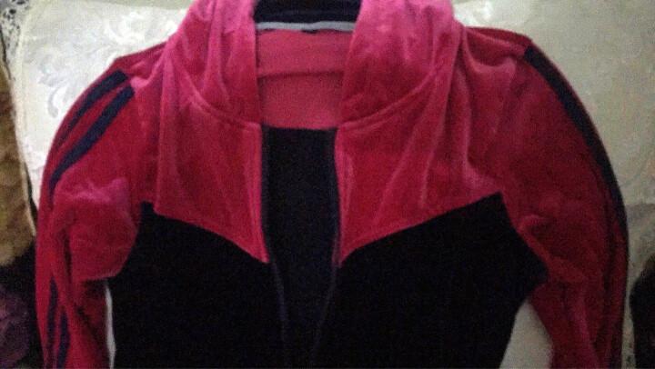 抹茶清歌 休闲运动套装2018年春秋季新款修身运动休闲套装 大码女装天鹅绒卫衣 金丝绒套装 韩版 玫红色 XL(95-110斤) 晒单图