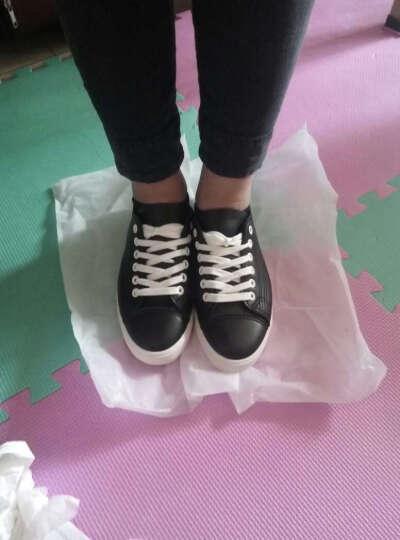 热风春新款时尚板鞋女圆头学生平底休闲鞋系带中口单鞋 01黑色 35偏大一码 晒单图