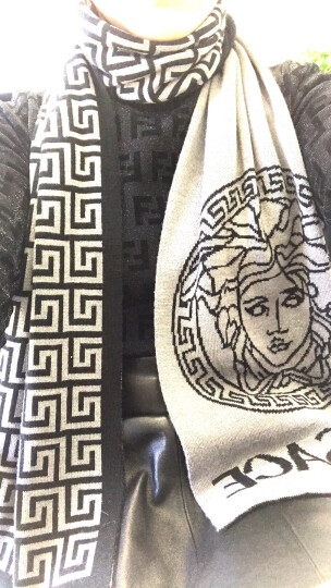 VERSACE 范思哲 男女同款卡其色黑色美杜莎羊毛混纺长形双面用围巾1381 黑/灰ISC30R1 IT01891 180x30 晒单图