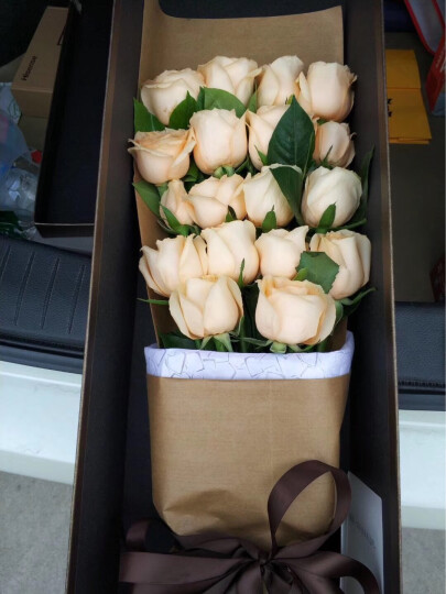 5月花 情人节鲜花速递真花全国北京生日鲜花礼盒33朵花束送朋友恋人上海广州天津全国城市 J款19朵香槟玫瑰咖色礼盒 晒单图