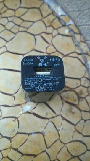 摩威尔电动车手机充电器2A电瓶车usb手机充电转换器车载充电器接头48V60V72V通用型 黑色 晒单图