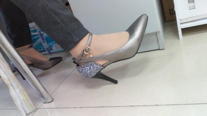 欧雅玲珑高跟鞋女新款单鞋防水台细跟鱼嘴鞋时尚百搭女士性感尖头中高跟女士大码 欧雅-81040-枪色 37 晒单图