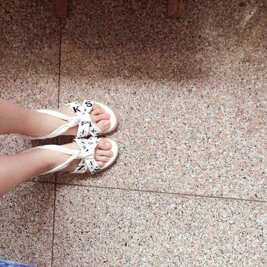 2019夏季新款平跟中学生凉鞋女大童平底可爱少女防滑沙滩鞋 白色 36 晒单图