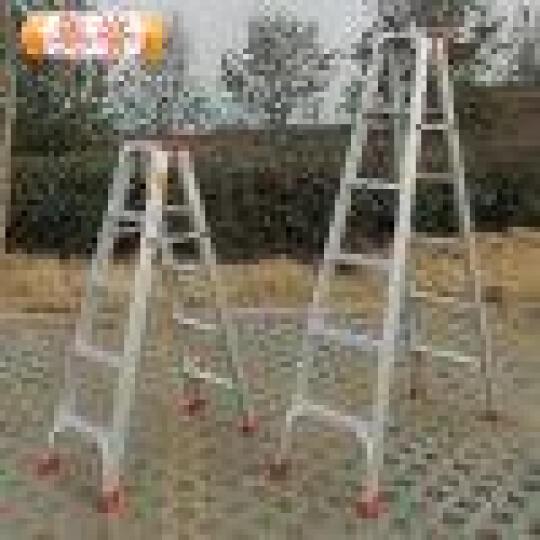奥誉加宽铝合金梯子双层加厚2米踏板工程梯子家用梯双面人字折叠伸缩扶梯 升级加强版 全铝1.8米 晒单图