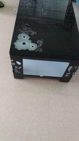 爱莱屋现代简约时尚茶几黑色透明钢化玻璃铁艺客厅欧式创意个性特价茶几桌小户型 黑框架+黑白玻璃混搭带花 长1.2米宽度60厘米 晒单图