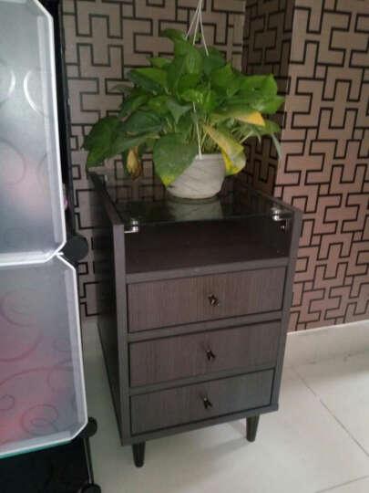 择木宜居 现代简约床头柜 钢化玻璃实木储物柜带抽屉 收纳边几 黑胡桃色 一个 晒单图