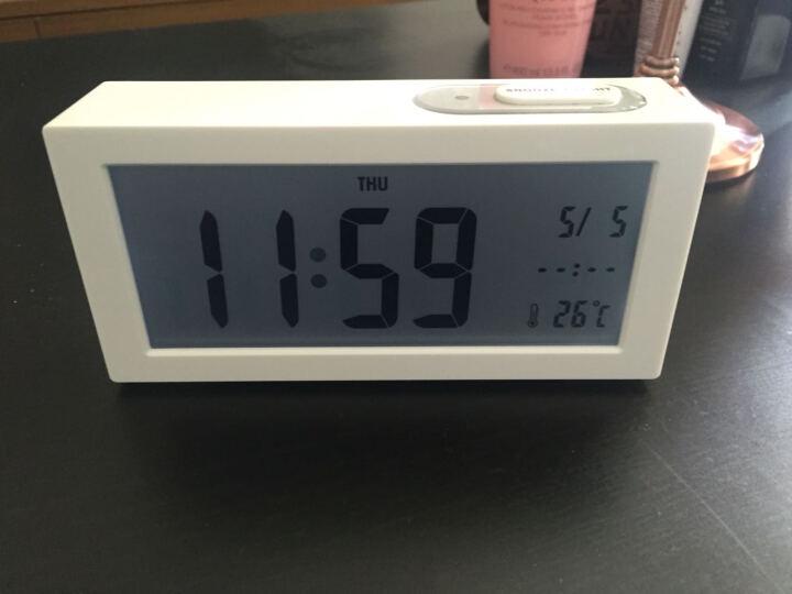 优慕(YM)闹钟 个性简约创意夜光静音闹钟 卧室床头LED学生电子钟 白色 晒单图