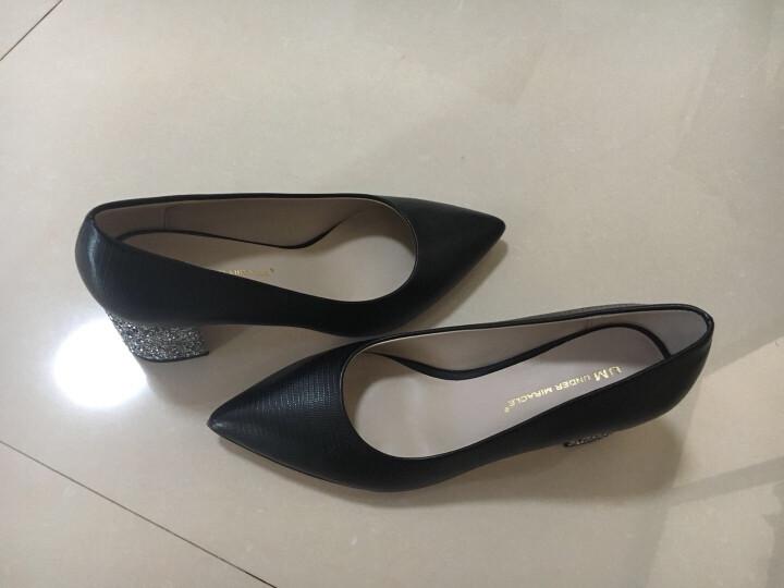 忐忑通勤女鞋尖头亮片粗跟高跟鞋 黑色绒面银跟(瘦脚拍小一码) 34 晒单图