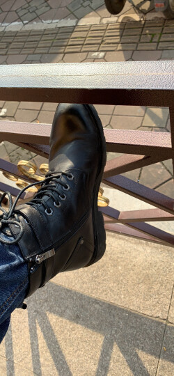 皓顿(HAUT TON) 牛皮时尚休闲男鞋户外工装马丁男靴 H018 黑色 41码 晒单图