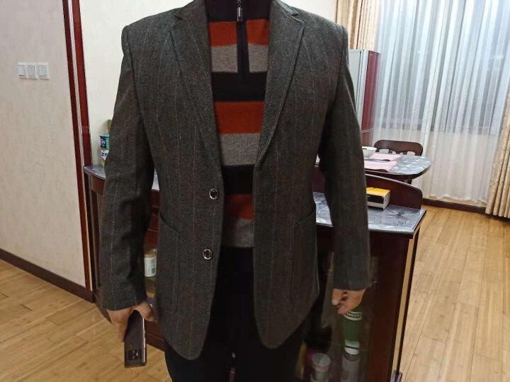 南极人春秋款中老年羊毛西服男商务休闲西装男外套免烫宽松深色肥佬爸爸西服上装 3#藏青色 170 晒单图