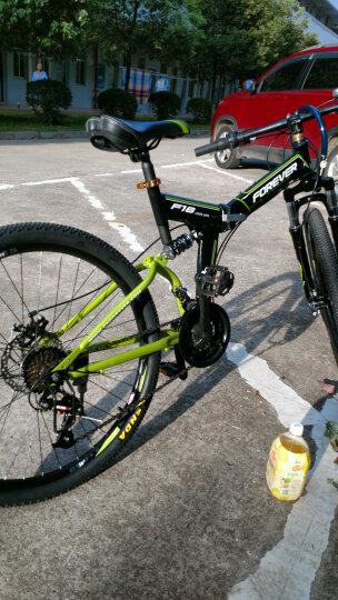 永久24速自行车 前后减震折叠山地车 双碟刹 男女士休闲车 学生变速单车 F18 黑绿色 晒单图
