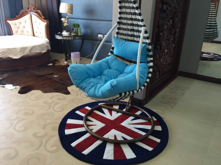 乐唯仕现代简约蓝色圆形手工腈纶茶几地毯客厅电脑椅地垫吊篮床边地毯英伦风格 英国星 140cm直径 晒单图