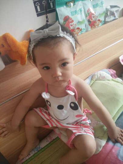 随心映海 新款韩版宝宝发饰婴儿款绸缎蝴蝶结蕾丝边发带发箍头饰 浅灰色 晒单图