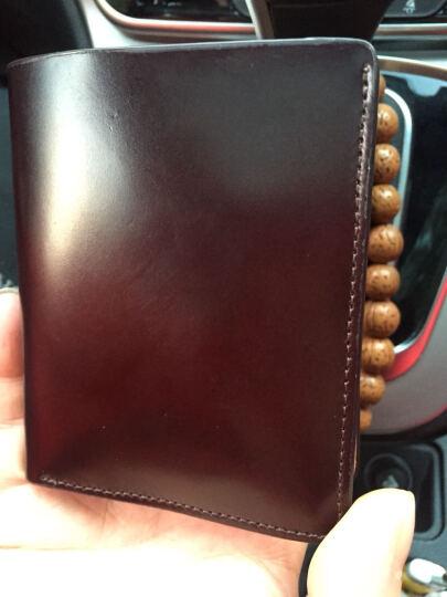 Lanspace 蓝皮具男士精品钱包 真皮短款小钱包 马臀革手工竖款票夹 LW073 酒棕色马臀革 晒单图