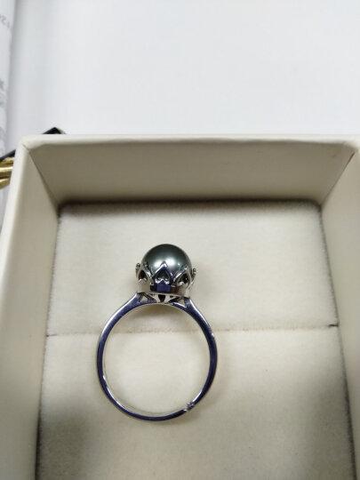 黛米珍珠 正圆 大溪地黑珍珠设计款可调节 珍珠戒指女 送老婆 珂瑶 情人节礼物 9-10mm孔雀绿款 晒单图